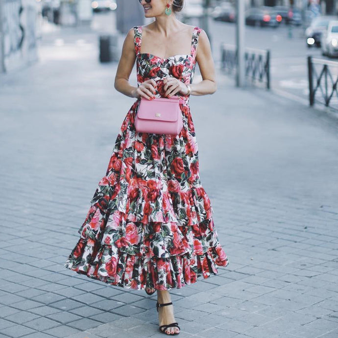 Sexy Spaghetti Strap Ruffle Floral Print   Vacation Dress
