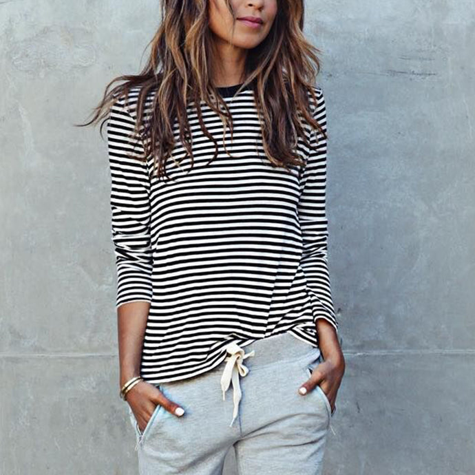 Casual Striped Loose  Long Sleeve Blouse T-Shirt