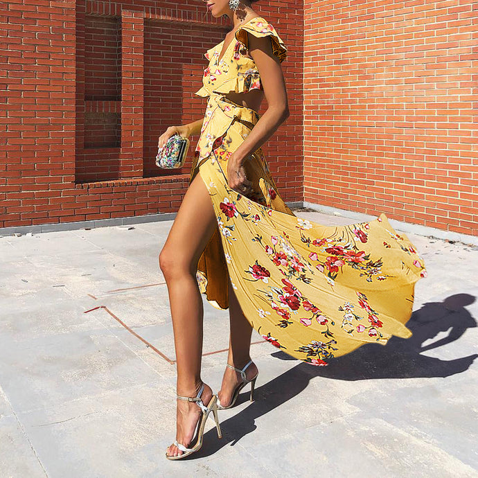 Summer Backless Chiffon Floral Swing Maxi Dress