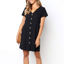 Load image into Gallery viewer, Daily Plain  V Collar Loose Shift Dress