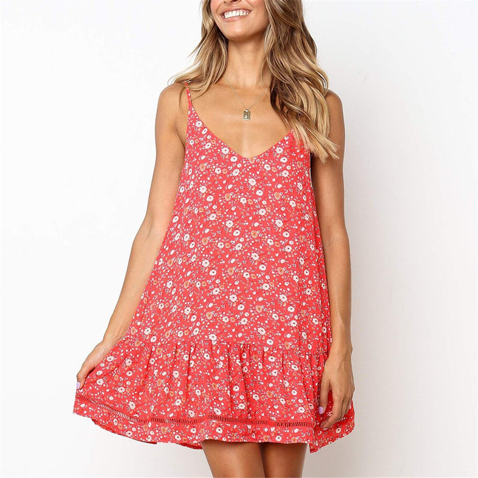 Sweet Floral Printed Deep V Collar Vacation Dress