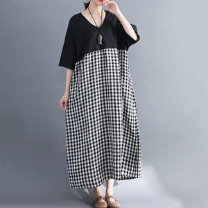 V-Neck  Printed Maxi Dress Vintage Dress