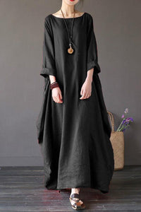 Round Neck Pocket Plain Maxi Dress Vintage Dress