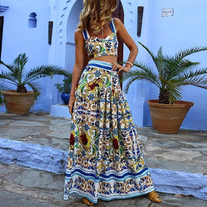 Sexy Off Shoulder Floral Printed Midriff Baring Suit Maxi Dress
