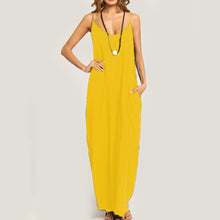 Load image into Gallery viewer, Summer Casual Spaghetti Strap Pocket Plain Vintage Maxi Dress