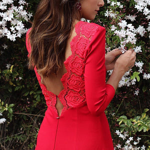 Sexy Red Long Sleeves Evening Dress Fishtail Maxi Dress