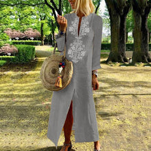 Load image into Gallery viewer, Casual Cotton Linen Long Sleeves Vintage Dress