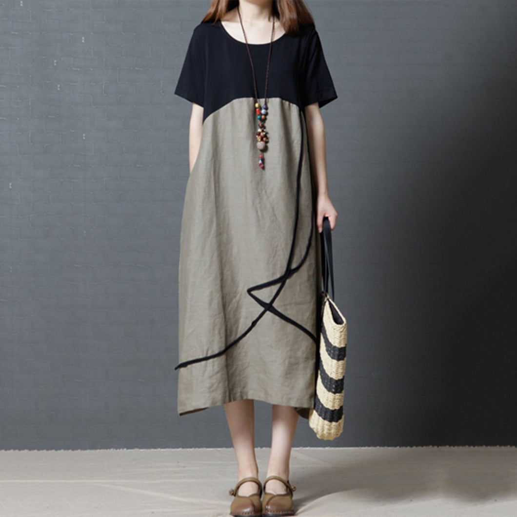 Loose Round Neck Pocket Color Block Vintage Dress Maxi Dress