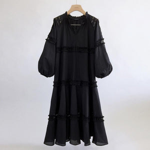 V Neck Lantern Sleeve Hollow Out Maxi Dress Vintage Dress