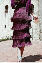 Load image into Gallery viewer, Sexy Backless Tassel Purple Maxi Dress