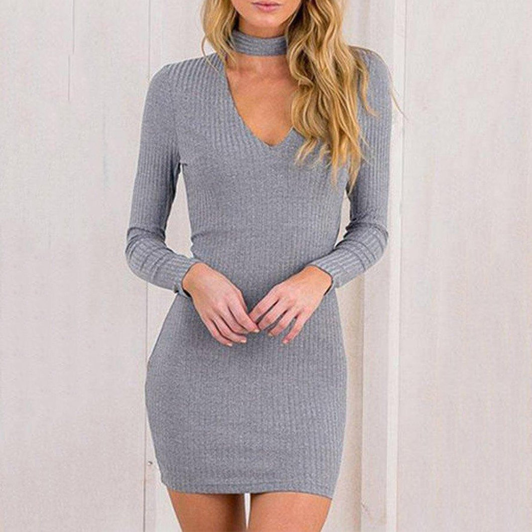 Gray V Neck Plain Sheath Bodycon Dresses