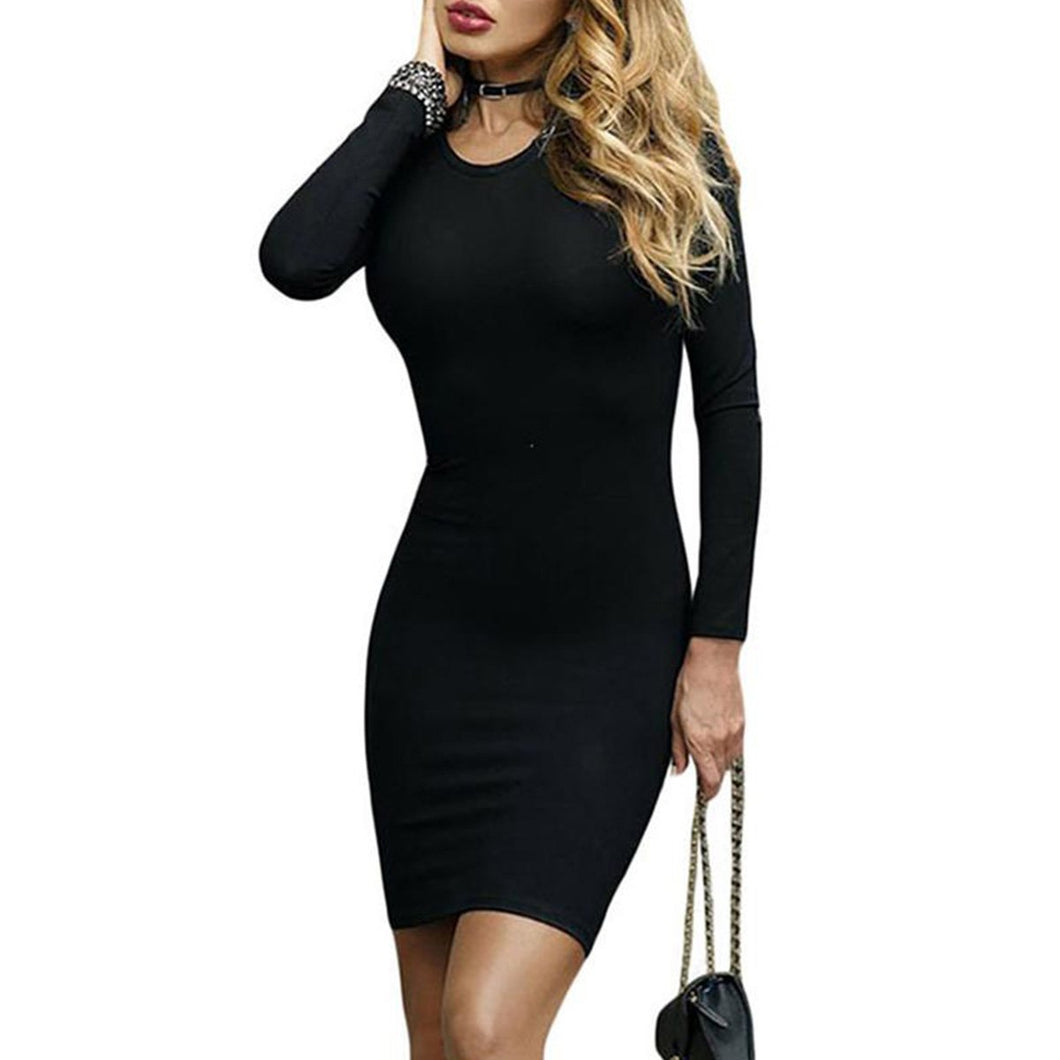 Round Neck Cross Straps Hollow Out Bodycon Dress