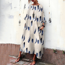 Load image into Gallery viewer, Bohemian Striped Bell Sleeve Floral Print Maxi Dresses Vintage Dress