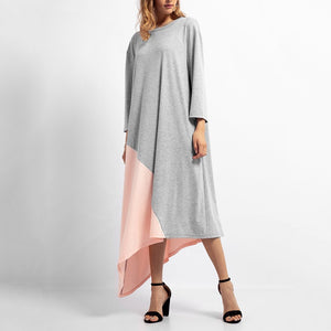 Fashion Plain Long Sleeve Casual Dress Maxi Dress