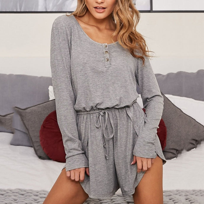 Long Sleeve Solid Color Casual Rompers