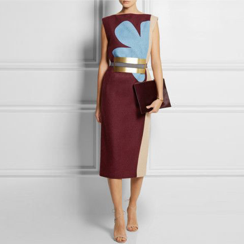 Glamorous Flat Collar Color Block Sleeveless Slim Dress
