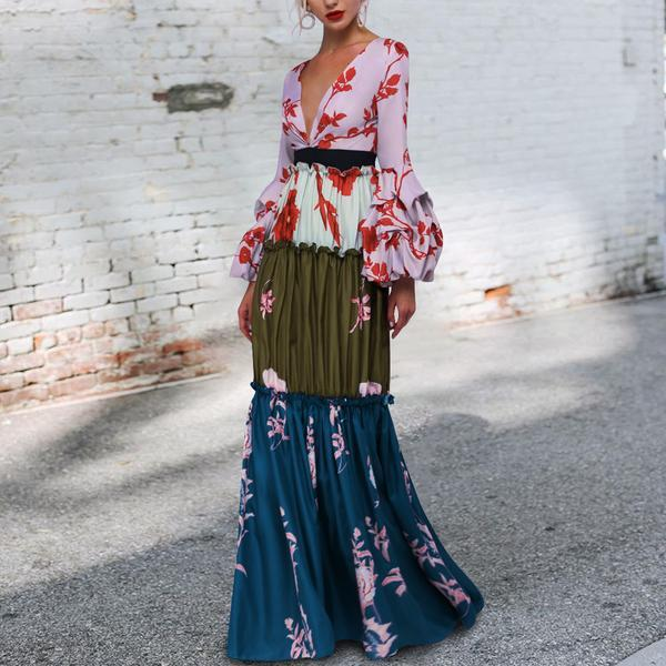 Sexy Deep V Collar Floral Printed Split Fishtail Joint Maxi Dress