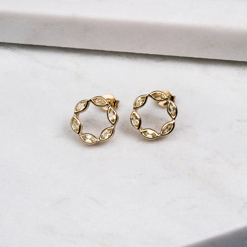 Halcyon Gold Lemon Quartz Studs