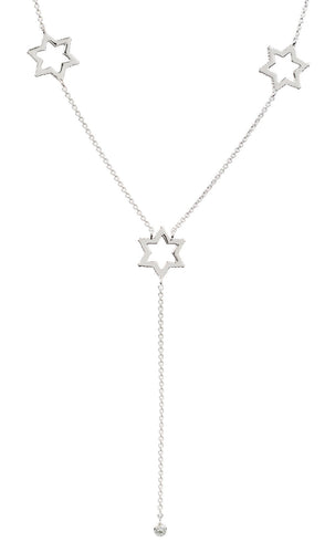 Cosmo Silver Long White Topaz Necklace