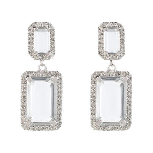 Electra Silver White Topaz Earrings