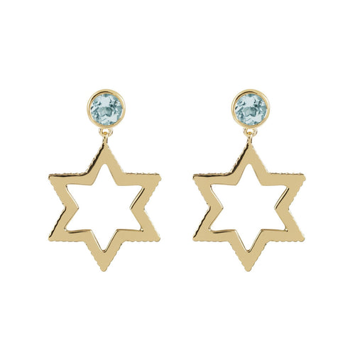 Cosmo Gold Sky Blue Topaz Earrings