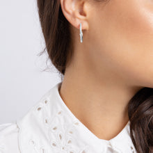 Load image into Gallery viewer, Wanderlust Silver White Topaz Hoops