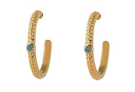 Wanderlust Gold London Blue Topaz Hoops