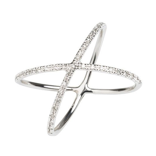 Nova White Gold Crossover Ring