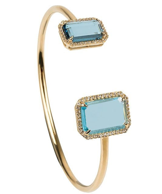 Electra Gold Sky and London Blue Topaz Bangle