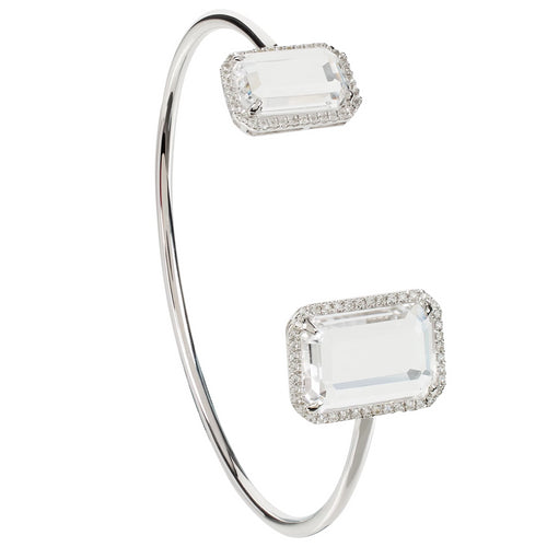 Electra Silver White Topaz Bangle
