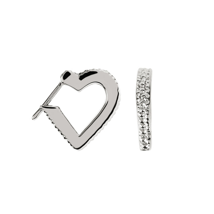 Wanderlust Silver Mini Heart Hoops