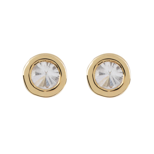 Disco Gold White Topaz Stud