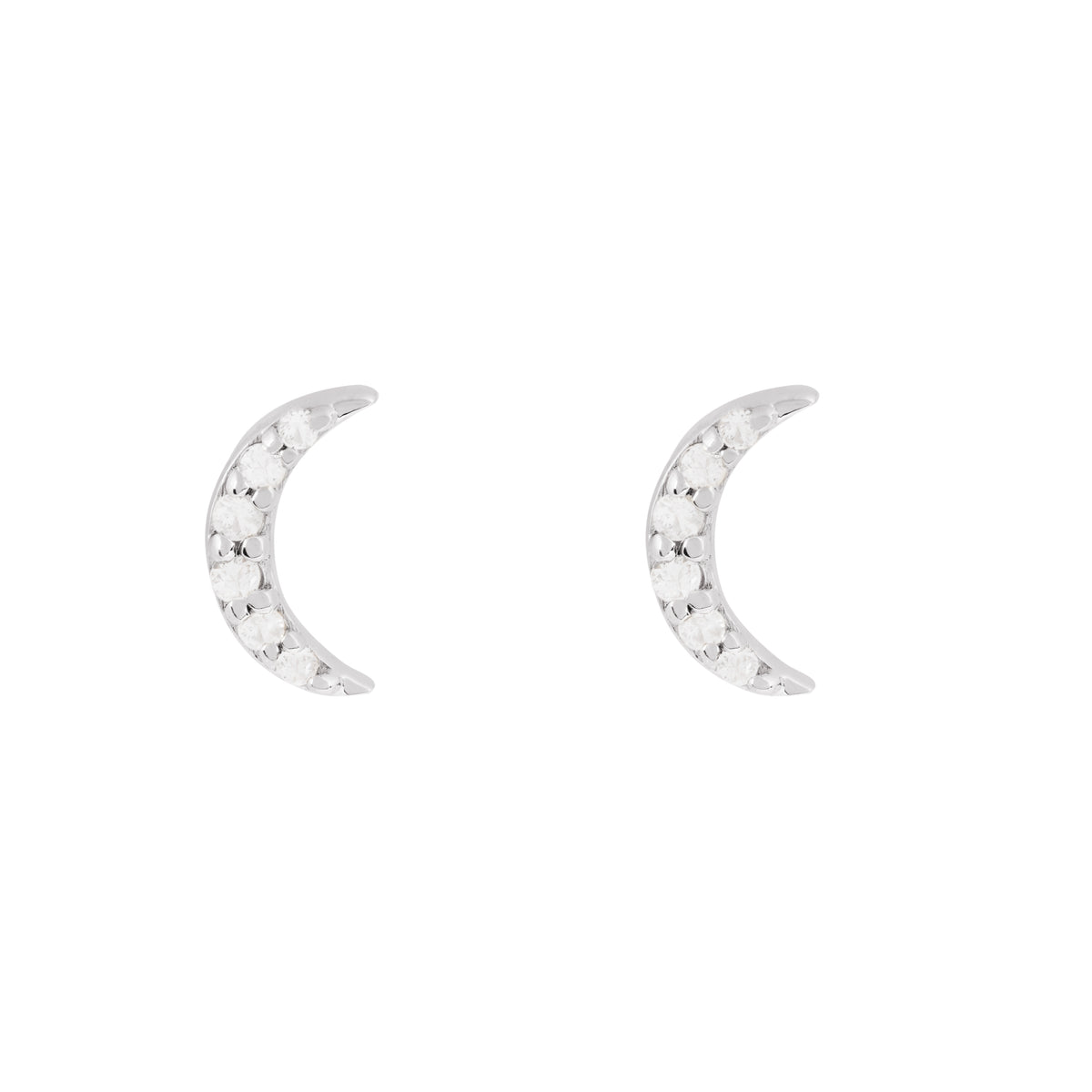 Disco White Gold Moon Stud