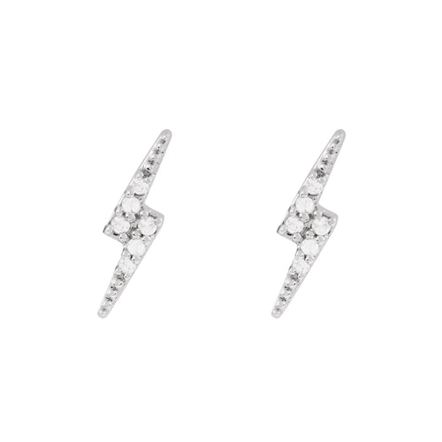 Disco White Gold Lightening Bolt Stud