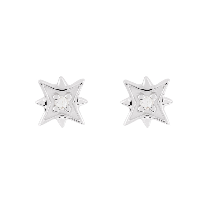 Disco White Gold Star Stud
