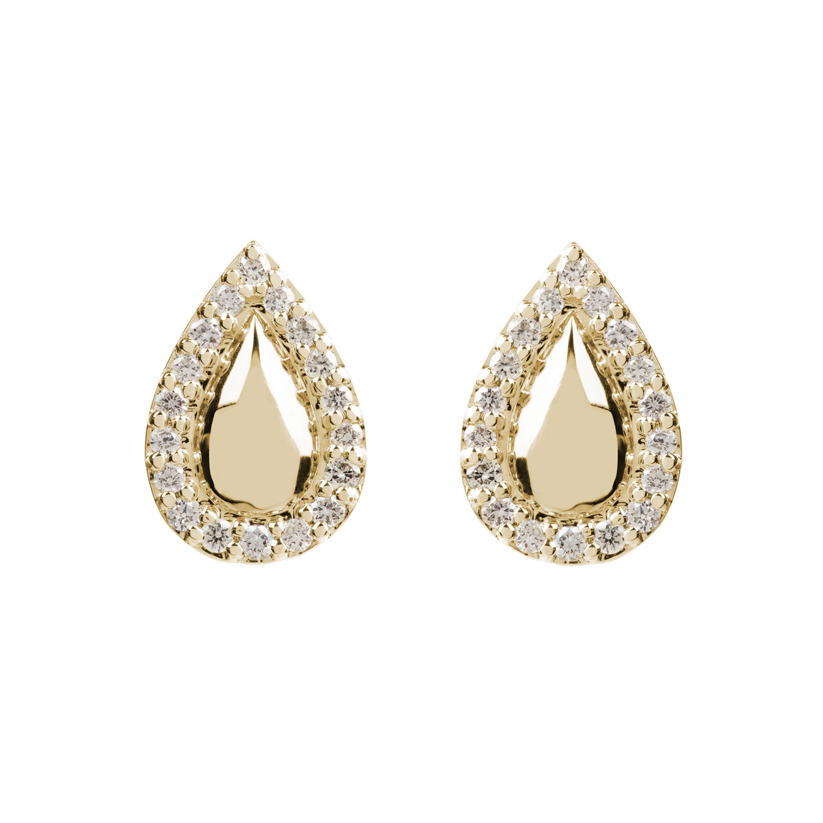 Hera Gold and Diamond Pear Studs
