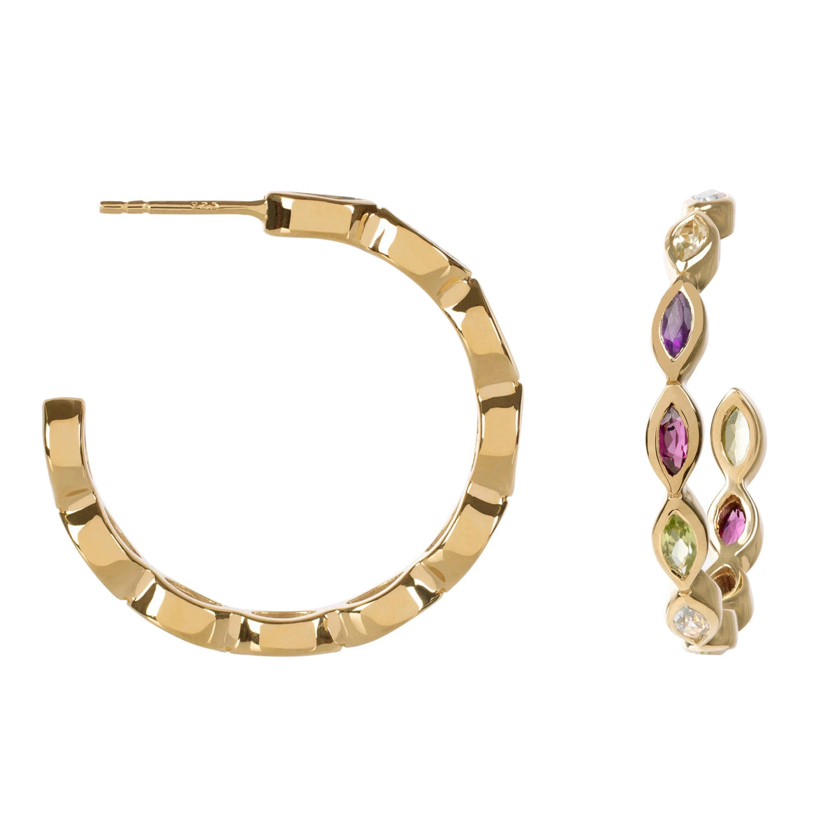 Halcyon Gold Multicolour Gemstone Hoops