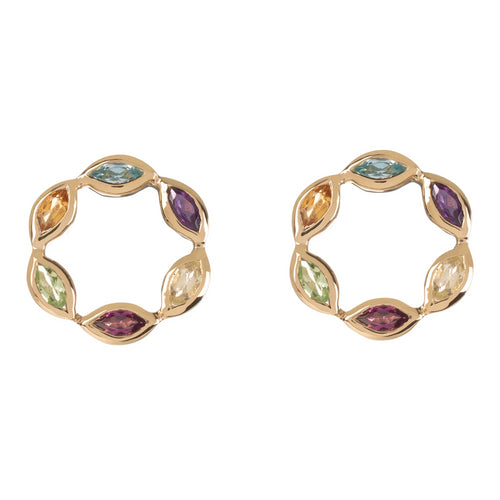 Halcyon Gold Multicolour Gemstone Studs