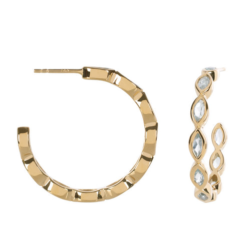 Halcyon Gold Sky Blue Topaz Hoops