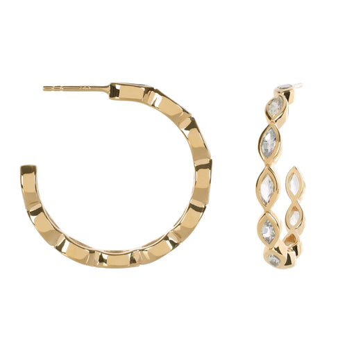 Halcyon Gold White Topaz Hoops