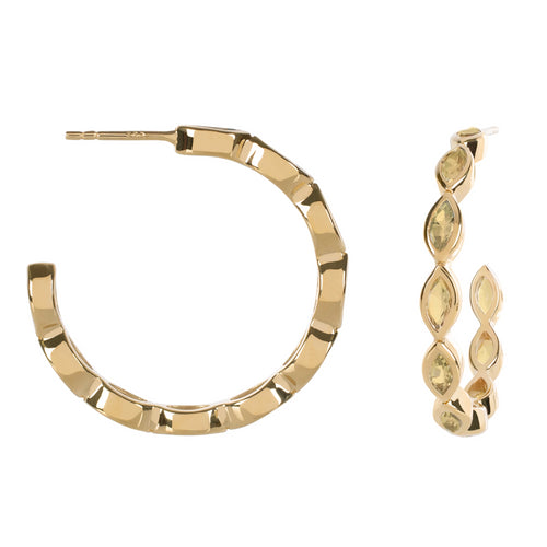 Halcyon Gold Lemon Quartz Hoops