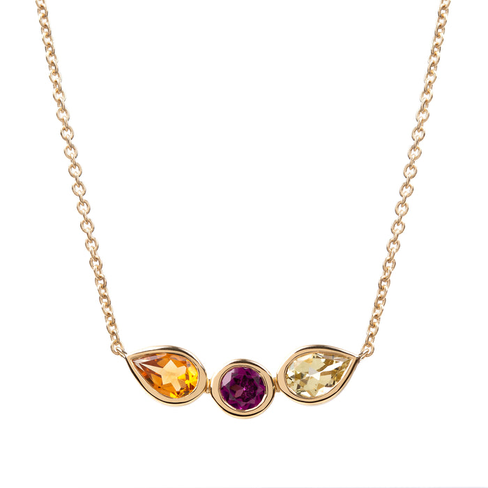 Spectrum Citrine, Rhodolite and Lemon Quartz Necklace