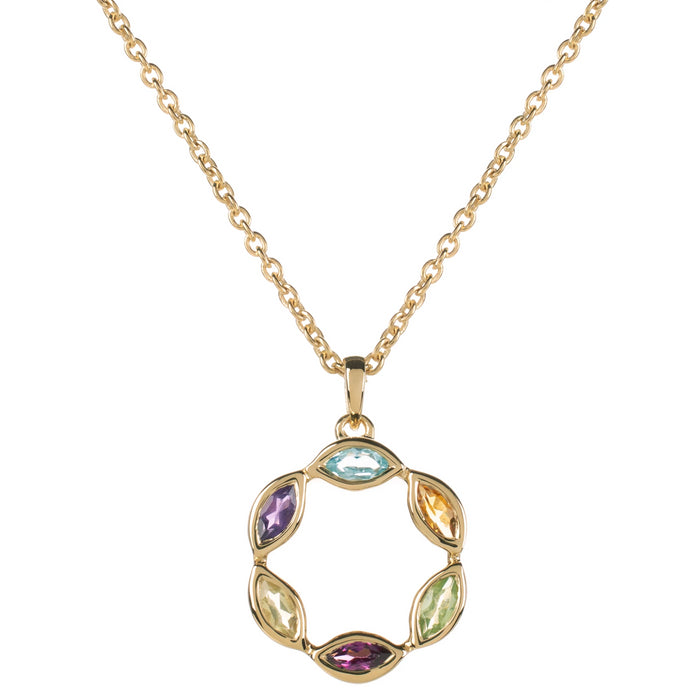 Halcyon Gold Multicolour Gemstone Necklace