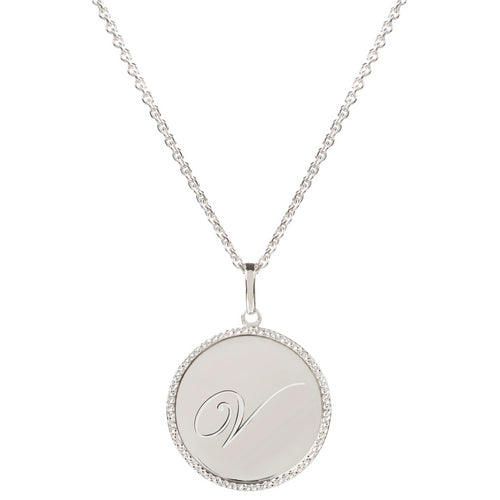 Echo Silver 'V' Initial Necklace