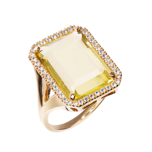 Electra Gold Lemon Quartz Ring