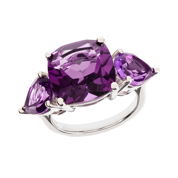 Aqua White Gold Amethyst Cushion Ring