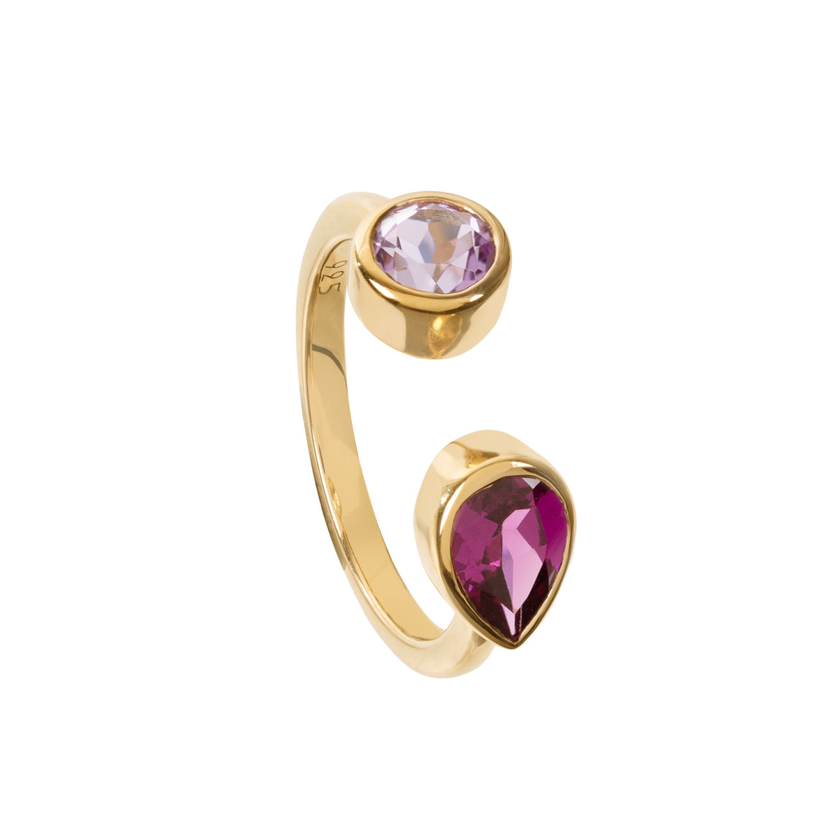 Spectrum Rhodolite and Amethyst Ring