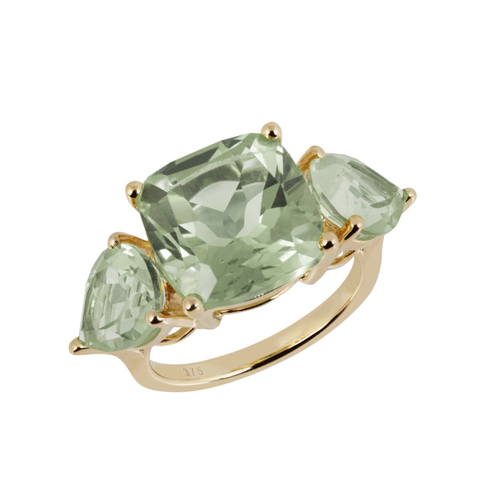 Aqua Gold Green Amethyst Cushion Ring