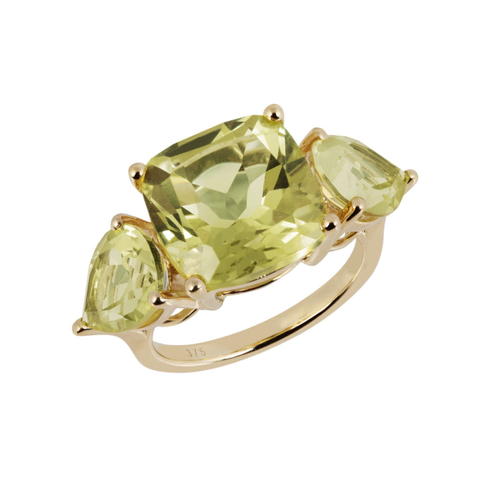Aqua Gold Lemon Quartz Cushion Ring