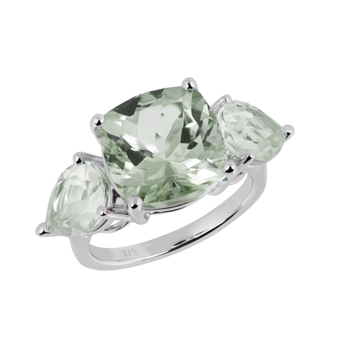 Aqua White Gold Green Amethyst Cushion Ring
